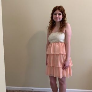 Rue21 Cream & Peach Ruffled Mini Strapless Dress